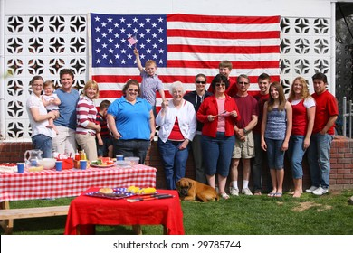 Large family group portrait at 4th of July Barbecue