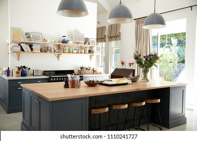 Large family kitchen in period conversion house, angled view