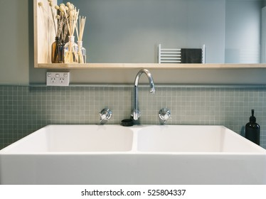 Large farmhouse style basin in vintage styled renovated Australian home