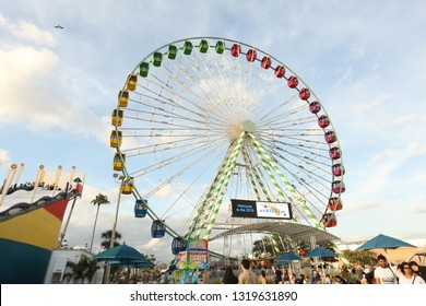large Ferris Wheel at the Florida State Fair February 17, 2019 in Tampa Florida