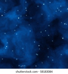 large field of stars with blue clouds. tiles seamlessly.
