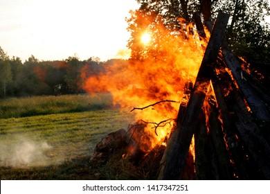 Large fire in the celebration of midsummer holidays night (Ligo) in Latvia.