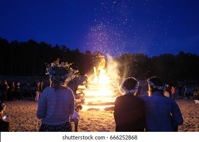 A large fire at the celebration of the summer solstice on the shore of the Gulf of Riga. Latvia.