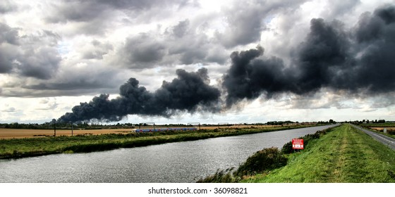 Large fire at a factory in Cambridgeshire, England