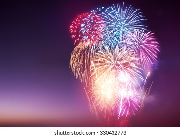 A large fireworks event with celebrations.