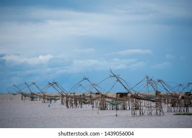 Large fish trap in Pak Pra Talay Noi, Phatthalung, Thailand