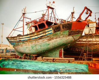 Large fishing boats typical of Essaouira, which despite the dilapidated appearance, sail the ocean every day