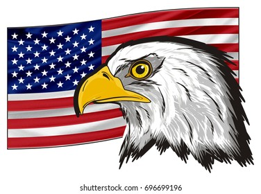 large flag of America with head of eagle