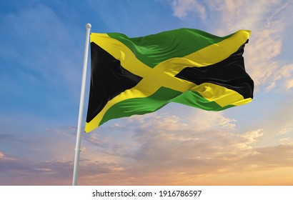 Large flag of Jamaica waving in the wind