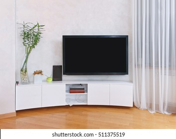 Large flat screen TV inside modern interior
