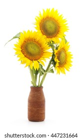 Large flowers sunflower in a vase isolated on a white background.