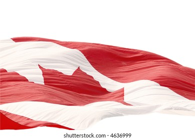Large flowing Canadian flag on white