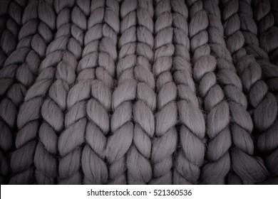 Large folded gray knit blanket, giant knit blanket, super chunky yarn, arm knitting
