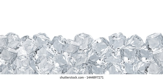 Large format ice cubes background isolated on white background including clipping path