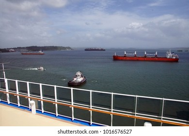 Large freighter approaching San Miguel lock, Panama Canal