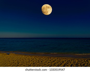 A large full moon rising over the Red Sea casting moonlight on the beach
