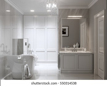 Large furnished bathroom in luxury home with marble tile floor, marble tile and gray wall, fancy white cabinets, large mirror, shower, and bathtub. 3d rendering