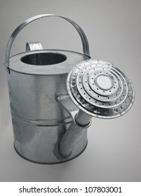 Large galvanised / metal watering can with a large spout