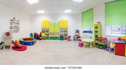 A large game room in the kindergarten. Wide Panoramic Picture.