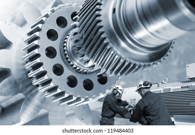 large gear machinery axle and two industry workers