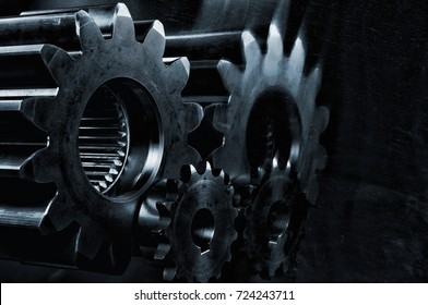 large gears and cogs, titanium and steel industry parts