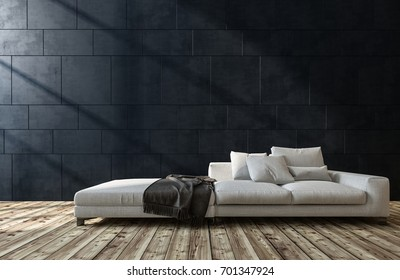 Large generic white sofa in a living room interior with wooden floor and dark grey brick walls with sunlight. 3d render.