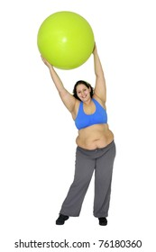 Large girl exercising with big fitness ball isolated in white