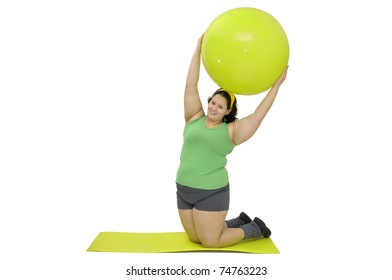 Large girl exercising isolated in white