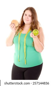large girl in fitness outfit isolated in white background