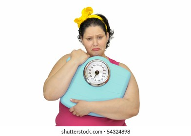 Large girl with sad face and scale isolated in white