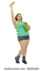 Large girl with vegetables isolated in white