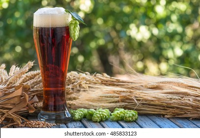 large glass dark beer, kvass, malt, hops, barley ears standing on an old wooden table dyeing, natural background
