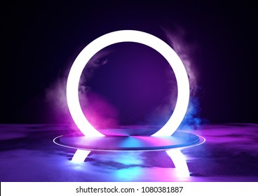 A large glowing neon loop sircle, futuristc background with platform. 3D illustration.