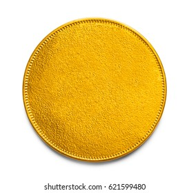 Large Gold Coin With Copy Space Isolated on White Background.