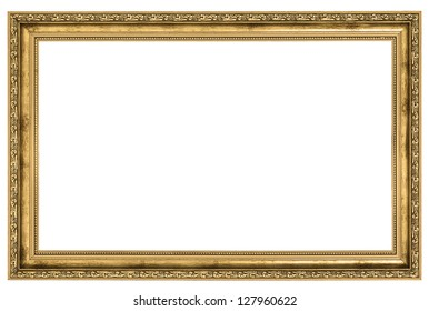 large golden frame isolated on white background
