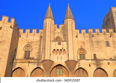 Large Gothic building of the Papal Palace (Palais des Papes) in Avignon, Provence, France