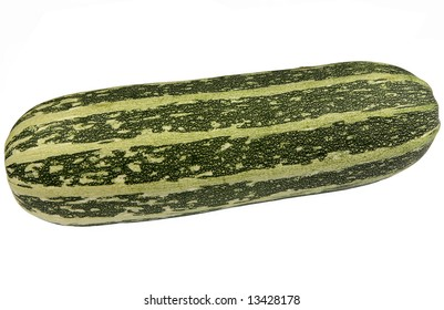 Large green bush marrow isolated on a white background.
