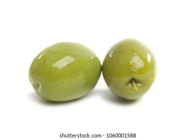 large green olives isolated on a white background