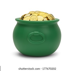 Large Green Pot with Colver Gold Coins Isolated on White Background.