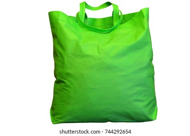 A large green shopping bag. Isolated on white background.