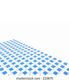 A large grid formation of shiny blue boxes with reflections.