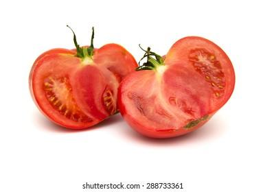 large ground-grown tomato isolated on white background