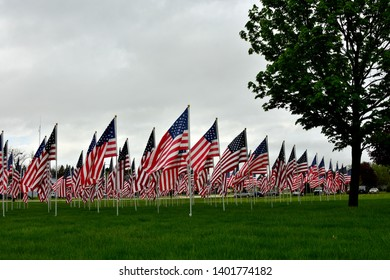 A large group of 150 US Flags place to honor the memory of the fallen for Memorial Day.