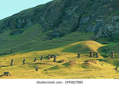 Large group of abandoned gigantic Moai statues on the slope of Rano Raraku volcano, the legendary Moai quarry on Easter Island, Archaeological site in Chile - Shutterstock ID 1995827885