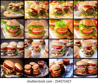 Large group of beef burgers
