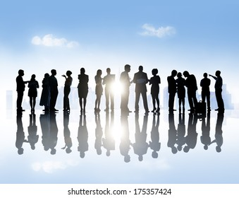 Large Group of Business People Meeting in Town