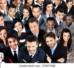 Large group of business people. Over white background