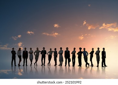 Large group of business people standing in line