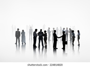 large group of business people working together.