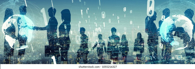 Large group of businessperson. Business and technology concept.